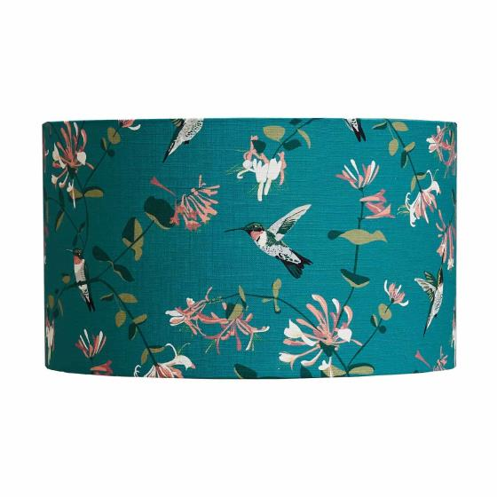 Lorna Syson lampshade teal hummingbird, 30cm product photo Side View -  - additional image 3 L