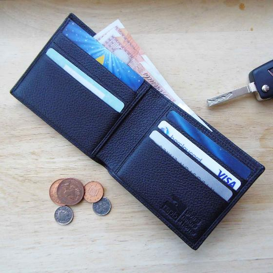 Leather men's wallet, black product photo Back View -  - additional image 2 L