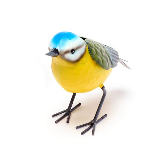 Metal bird sculpture blue tit product photo Front View - additional image 1 L