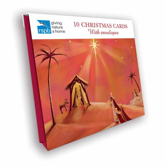 Nativity scene RSPB charity Christmas cards - 10 pack product photo Side View -  - additional image 3 L
