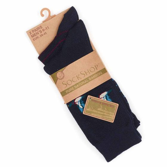 Men's 2 pack bamboo duck socks, navy product photo Side View -  - additional image 3 L
