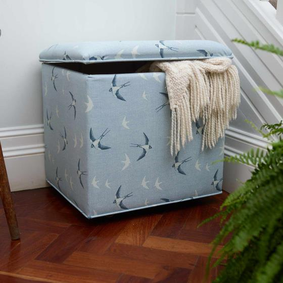 Stuart Jones RSPB Grosvenor ottoman, swallows product photo Front View - additional image 1 L