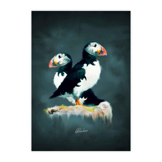 Pair of puffins mounted art print product photo Default L