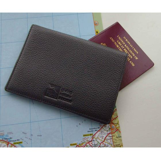 Leather passport cover, black product photo Back View -  - additional image 2 L