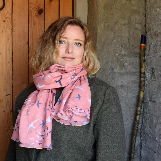Pink murmuration RSPB organic cotton scarf product photo Back View -  - additional image 2 L