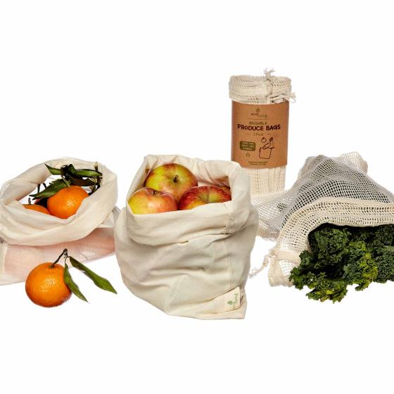 Organic produce & bread bags - 3 pack product photo Side View -  - additional image 3 L