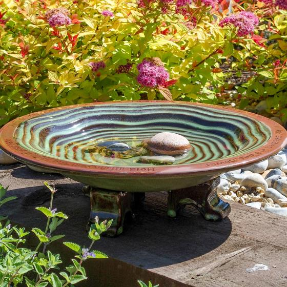 Echoes ceramic bird bath product photo