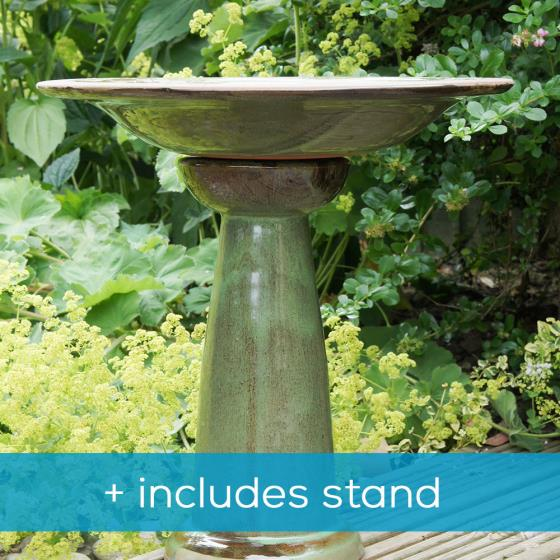 Echoes ceramic bird bath & stand product photo