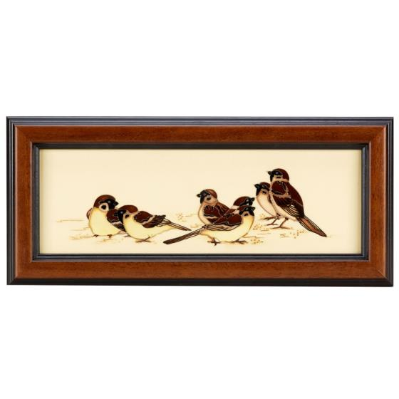 Moorcroft plaque, Tree Sparrows product photo Default L
