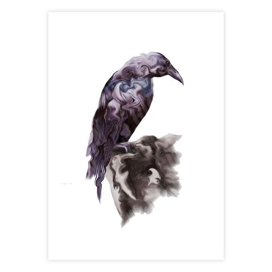 Raven on the rock mounted art print product photo Default L