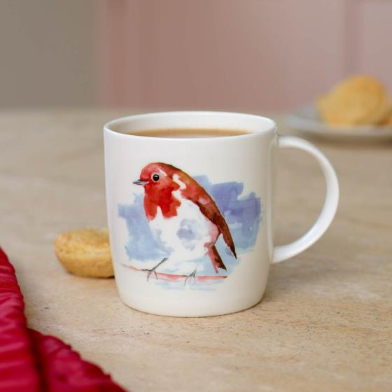 Robin mug and tea tray product photo Side View -  - additional image 3 L
