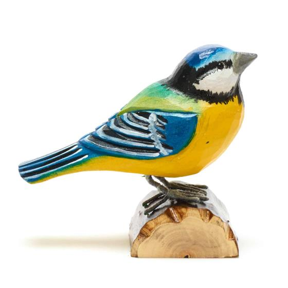 Wooden blue tit ornament product photo Side View -  - additional image 3 L