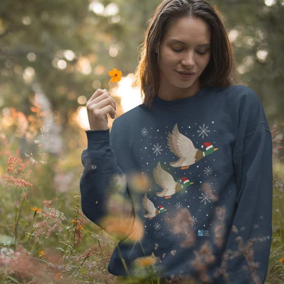 "Ethical Christmas jumper, flying ducks - Size L 40"" chest product photo Side View -  - additional image 3 L"