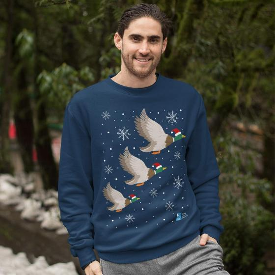 "Ethical Christmas jumper, flying ducks - Size L 40"" chest product photo Back View -  - additional image 2 L"
