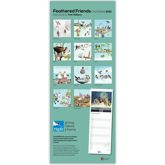 RSPB Feathered friends calendar 2021 product photo Back View -  - additional image 2 L