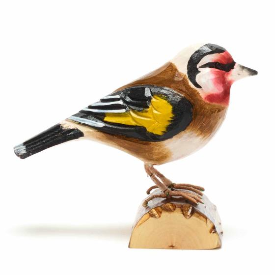 Wooden goldfinch ornament product photo Side View -  - additional image 3 L