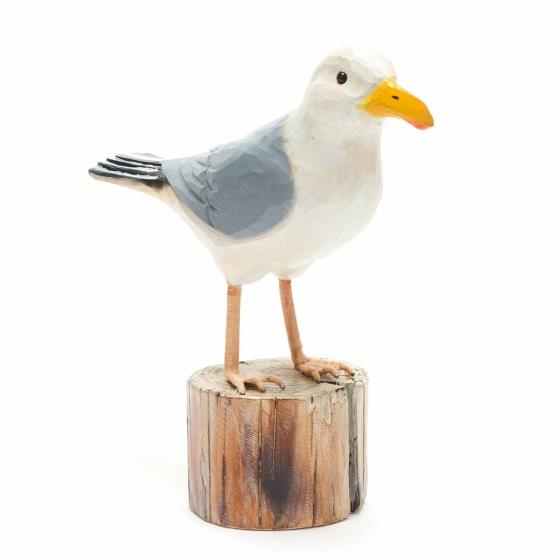 Wooden herring gull ornament product photo