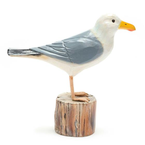Wooden herring gull ornament product photo Side View -  - additional image 3 L