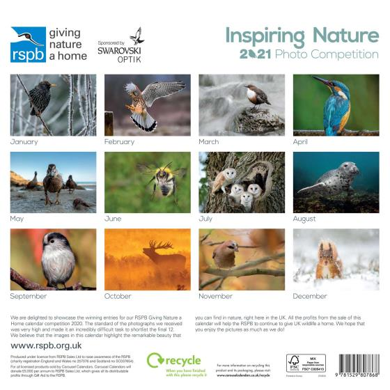 RSPB Inspiring nature photo competition calendar 2021 product photo Back View -  - additional image 2 L
