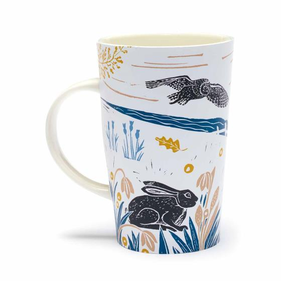 RSPB Nature's print hares latte mug product photo Side View -  - additional image 3 L