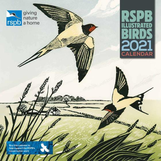RSPB Pam Grimmond bird prints calendar 2021 product photo