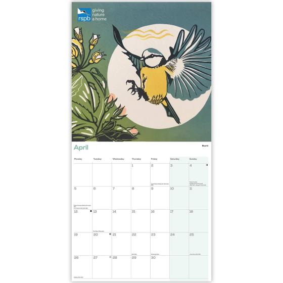 RSPB Pam Grimmond bird prints calendar 2021 product photo Side View -  - additional image 3 L