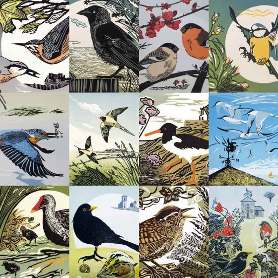 RSPB Pam Grimmond bird prints calendar 2021 product photo Back View -  - additional image 2 L