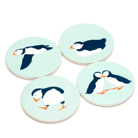 RSPB Puffins coasters product photo Front View - additional image 1 L
