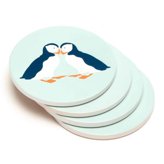 RSPB Puffins coasters product photo Side View -  - additional image 3 L