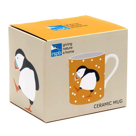 RSPB Puffins mug, ochre product photo Front View - additional image 1 L