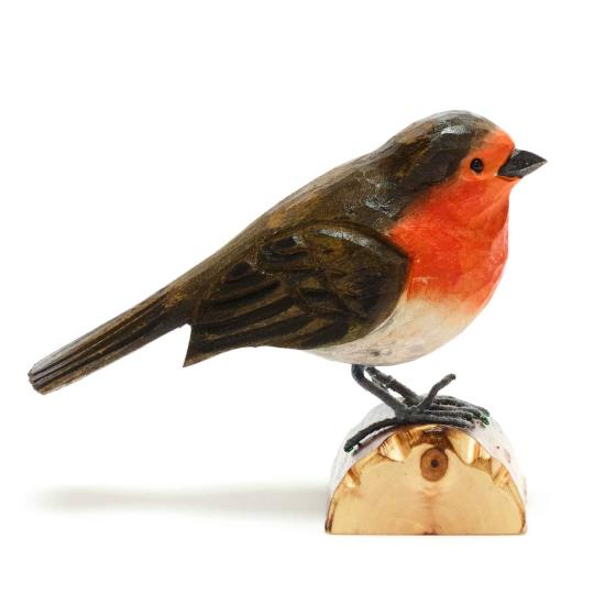 Wooden robin ornament product photo Side View -  - additional image 3 L
