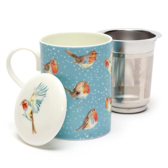 Robins in the snow tea infuser mug product photo Side View -  - additional image 3 L