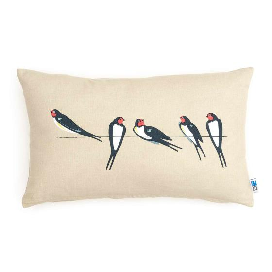 RSPB Swallows cushion - stone oblong product photo Default L