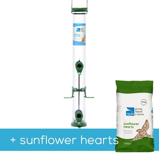 RSPB Ultimate easy-clean large seed feeder + 1.8kg sunflower hearts product photo Default L