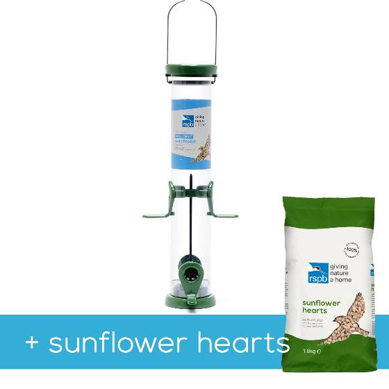 RSPB Ultimate easy-clean seed feeder + 1.8kg sunflower hearts, medium product photo Default L