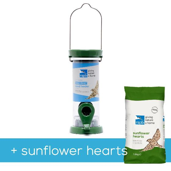 RSPB Ultimate easy-clean seed feeder + 1.8kg sunflower hearts, small product photo Default L