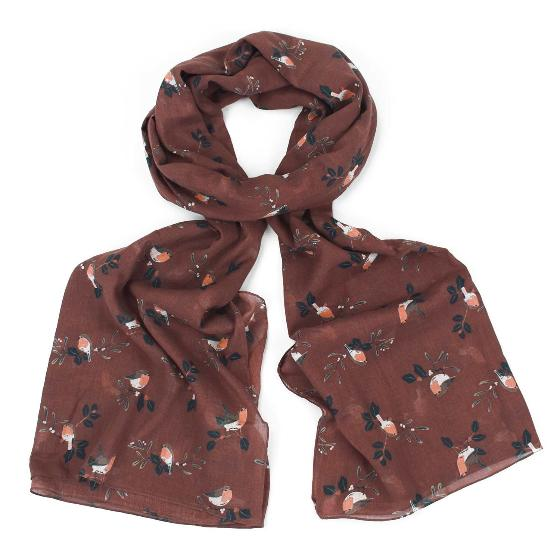 Russet robin RSPB organic cotton scarf product photo