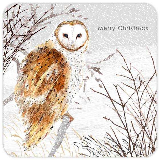 Snowy scene RSPB charity Christmas cards - 10 pack product photo Side View -  - additional image 3 L