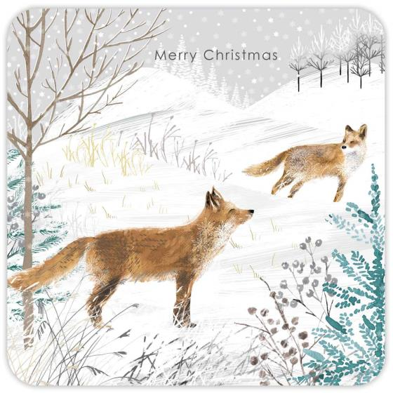 Snowy scene RSPB charity Christmas cards - 10 pack product photo Back View -  - additional image 2 L
