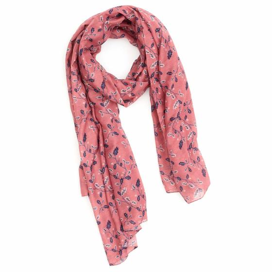 Oak leaf RSPB organic cotton scarf, soft pink product photo