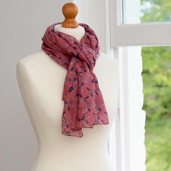 Oak leaf RSPB scarf, soft pink product photo Back View -  - additional image 2 L