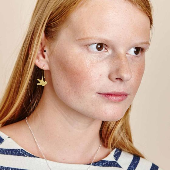 Swallow bird earrings, brass product photo Side View -  - additional image 3 L