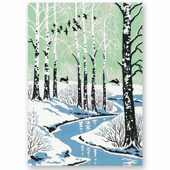 Through the trees RSPB charity Christmas cards - 10 pack product photo Default L
