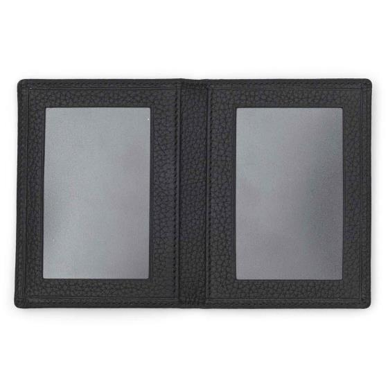 Leather travel pass card holder, black product photo Side View -  - additional image 3 L