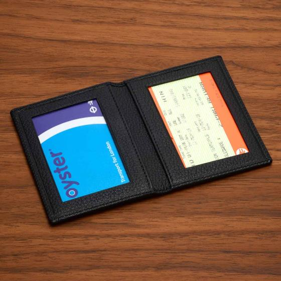Leather travel pass card holder, black product photo Front View - additional image 1 L