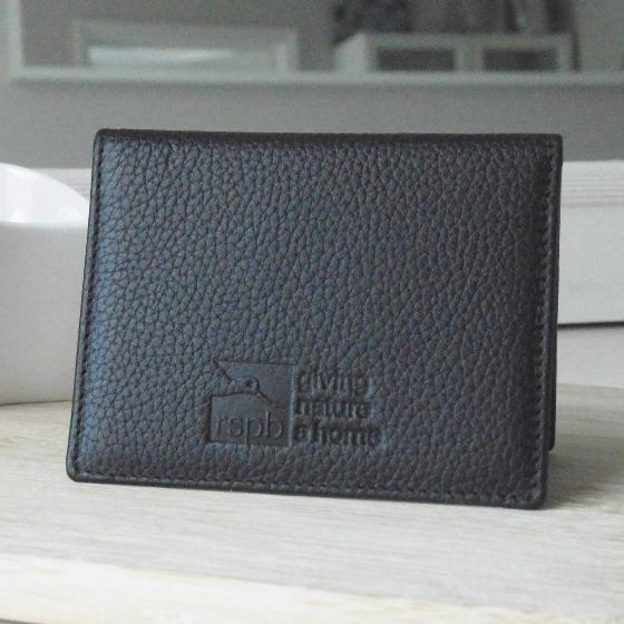 Leather travel pass card holder, black product photo Back View -  - additional image 2 L