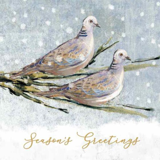 Two turtle doves RSPB charity Christmas cards - 10 pack product photo Default L