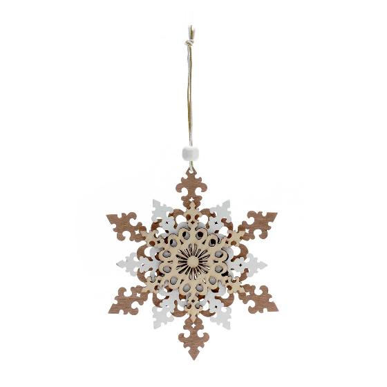 Wooden snowflake decoration product photo Default L