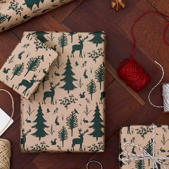 Woodland recycled wrapping paper 5m product photo Side View -  - additional image 3 L