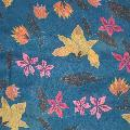 Blue batik flowers RSPB organic cotton scarf product photo Side View -  - additional image 3 T